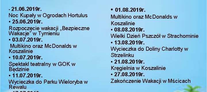 Wakacje W Gminie Będzino Gok Zaprasza Gmina Będzino