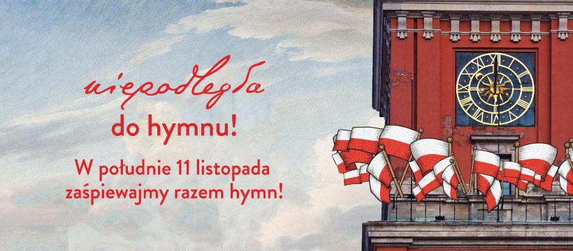 Grafika informująca aby w południe 11 listopada zaśpiewać razem humn!